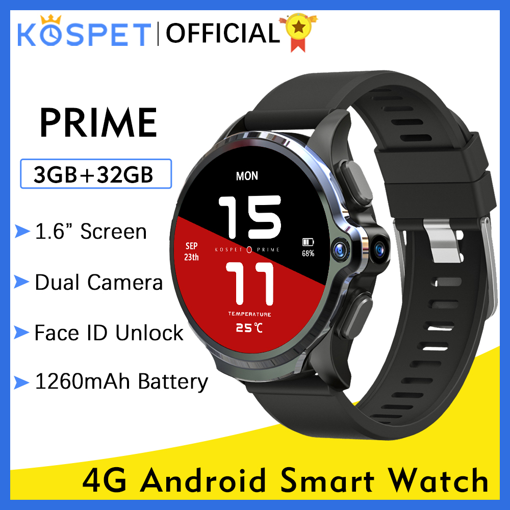 """KOSPET Prime 3GB 32GB Smart Watch Men Watches Phone Camera 1260mAh Face ID 1.6"""" 4G Android GPS Smartwatch 2020 For Xiaomi IOS 1"""