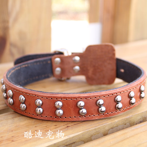 Small Cowhide Dog Collar Pet Collar Dog Neck Ring Pet Supplies Genuine Leather Neck Ring Genuine Leather Traction