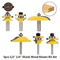 "3pcs 1/2"" 1/4"" Shank Raised Panel Cabinet Door Router Bit Set Corner Rounding Router Bit Carbide Tenon Cutters Woodworking Tools|Milling Cutter| |  -"