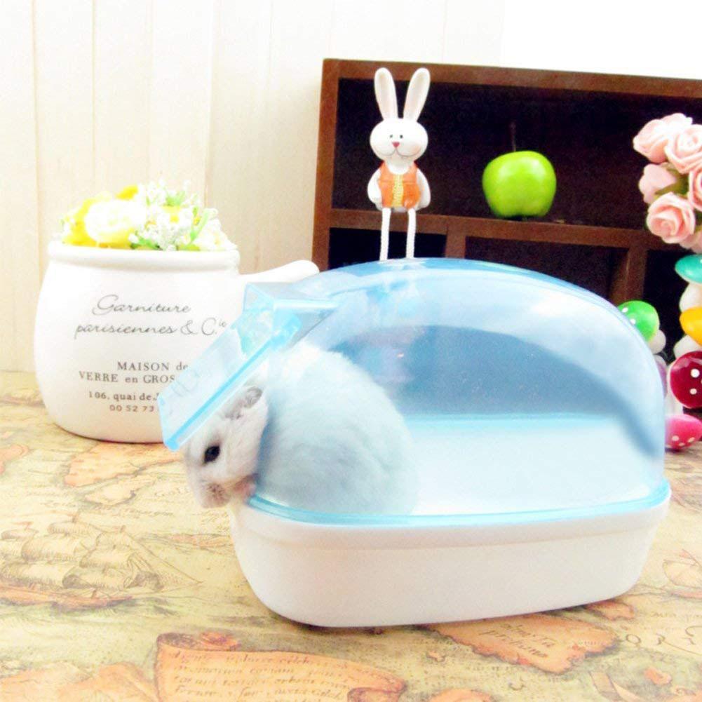 HobbyLane 12x8cm Dustproof Plastic Cute Small Pet Hamster Bathroom Sauna Bathtub Playing Box Pet Grooming Cleaning Tools