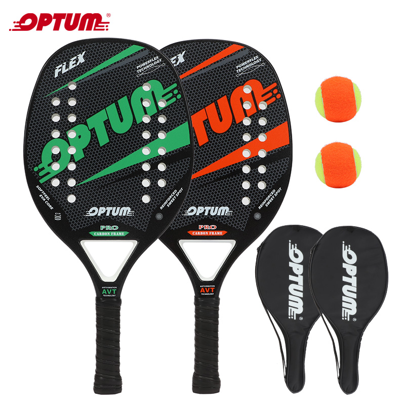 Beach Tennis Racquet Set OPTUM FLEX Beach Tennis Racket/Tennis Paddle Set,2 Paddles,2 Balls,and 2 Cover Bags.