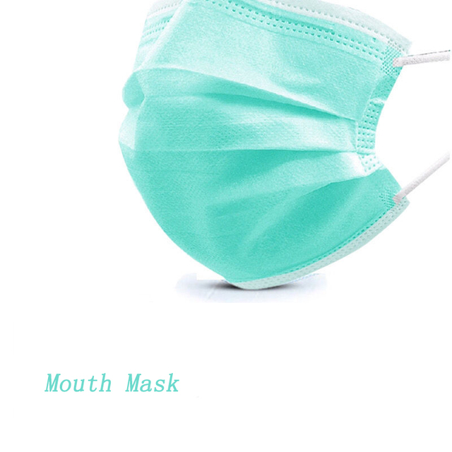 10/20/50/100/200/300/400/500Pcs Green Disposable Adult Mouth Mask Three-layer Non-woven Face Mask