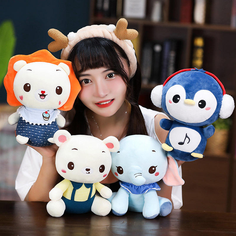 Bear Elephant Plush Toy Stuffed Penguin Lion Animals Doll Placating Toy Bed Sleeping Gift For Children Just6F