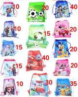 300PCS Disney Frozen Car Football Toy Story Pokemon Minnie Theme party bags for kids birthdays non woven Fabric Drawstring Bag