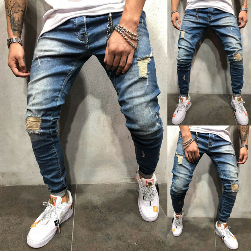 2019 Newest Fashion Men Ripped Skinny  Destroyed Hole Solid Frayed Slim Fit Long Pants Trousers