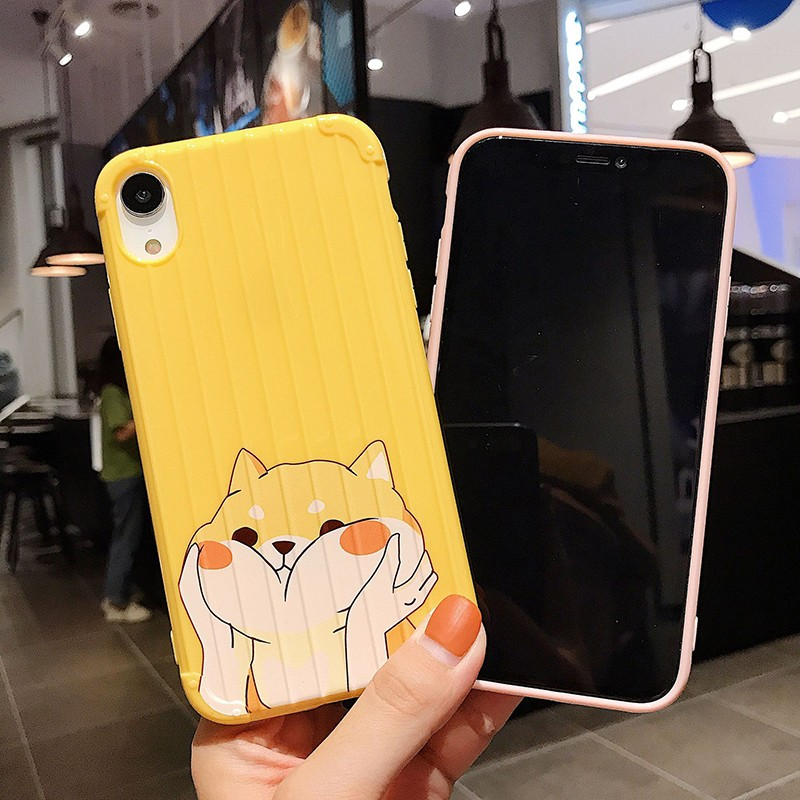 For Iphone 7 8 Plus 6s Cute Corgi Dog Pattern Phone Case For IPhone X XS 7 8 Plus 6 6S Soft Silicone Luggage Cover Case in Fitted Cases from Cellphones Telecommunications