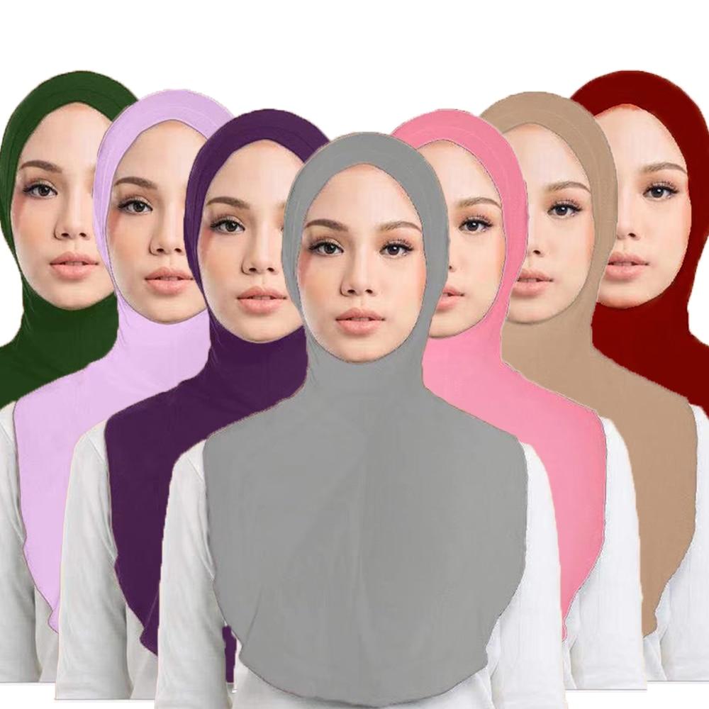 One Piece Amira Hijab Women Muslim Veil Headscarf Head Cover Middle East Niqab Burqa Prayer Islam Scarf Cap Hat Arab Solid Color