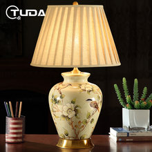 TUDA American Style Ceramic Table Lamp Bedroom Bedside Lamp Household Cozy Room Table Lamp European-Style Bedside Table