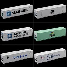 6 uds. De mezcla 1: 87 de 40 pies contenedor de refrigerador de alto cubo contenedor de escala HO para modelo de coche de carga C8722