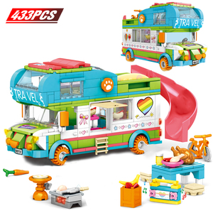 Friends Beach Camping RV Villa Water Park Building Block Christmas Snow House Cartoon Brick Toys for Girls Toys for Children