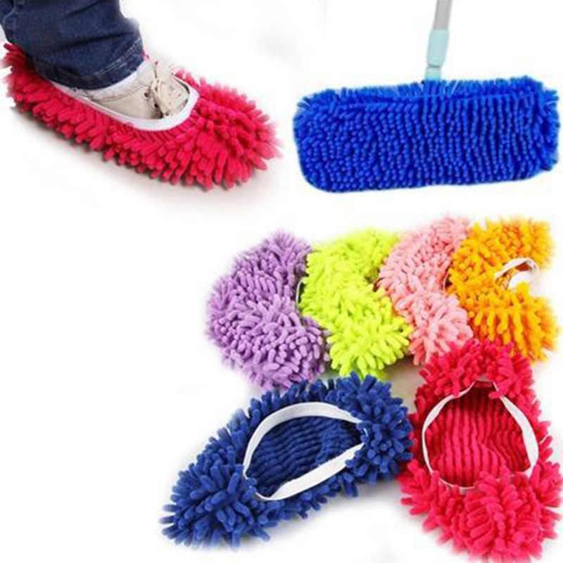 怠惰な靴カバー床ダストクリーニングスリッパモップクリーナー多機能家庭用の布クリーニングカバーマイクロファイバーモップオーバーシューズ
