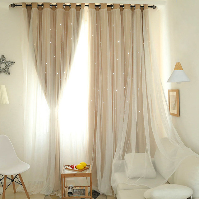 1x2m Window Tulle curtains for living room bedroom Blackout curtains Hollow curtain Nordic star ins princess wind curtain Pink 2