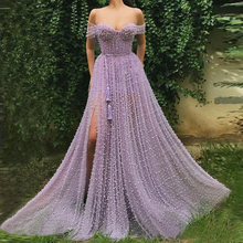 Handmade Heavy Pearls Sweetheart A-line Lilac Prom Dresses 2