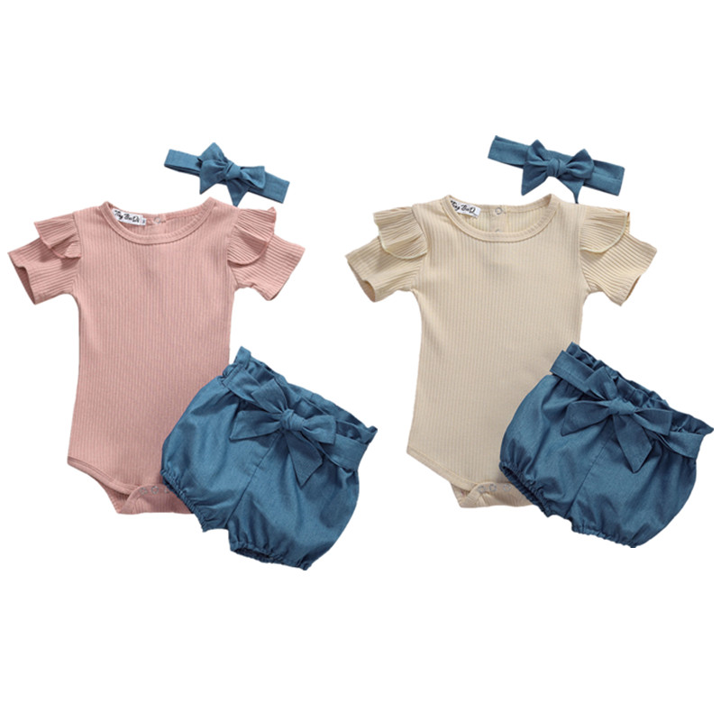 Pudcoco USPS Fast Shipping 0-24M Newborn Baby Girl Kid Clothes Set Short Sleeve Tops Romper Shorts Headband Outfit Clothes