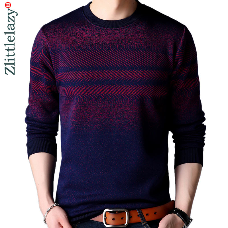 2019 Casual Thick Warm Winter Striped Knitted Pull Sweater Men Wear Jersey Dress Pullover Knit Mens Sweaters Male Fashions 02127