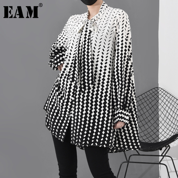 [EAM] Women Pattern Printed Chiffon Big Size Blouse New Bow Collar Long Sleeve Loose Fit Shirt Fashion Spring Autumn 2020 1R2030
