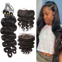 8-28 30 Inch Brazilian Hair Weave Body Wave Human Hair 3 4 Bundles With Lace Frontal Remy Hair