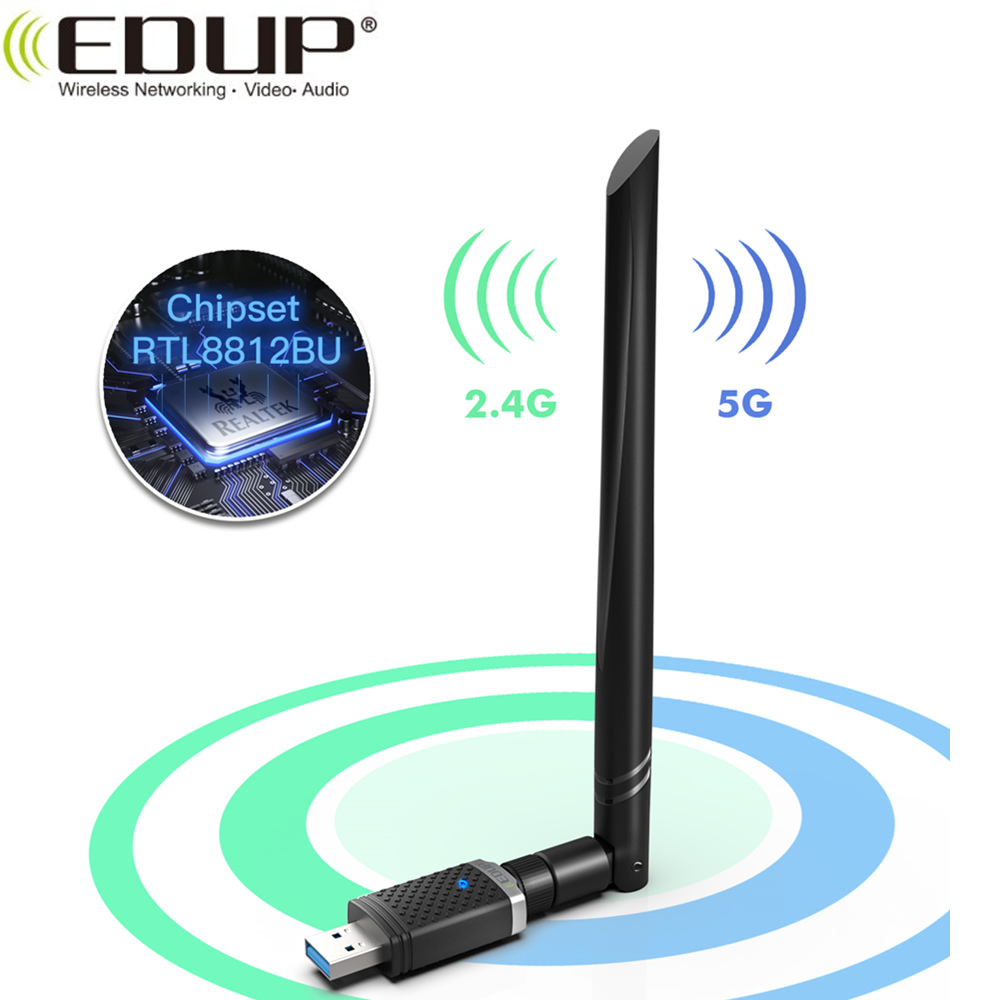 EDUP 1300Mbps RTL8812BU 2.4GHz/5GHz Band Wirelss USB WiFi Adapter 5dBi Strong Antenna USB WiFi Dongle