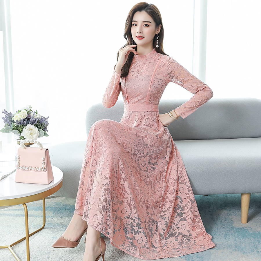 2019 Vintage Pink Lace Sexy Maxi Dresses Autumn Winter 3XL Plus Size Long Sleeve Midi Dress Elegant Women Bodycon Party Vestidos