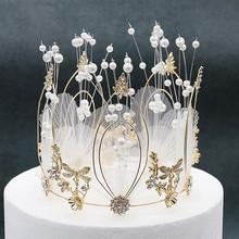 1 шт. свадебные аксессуары для волос ручной работы с жемчугом Ювелирные изделия для волос с перьями круглая корона принцессы тиары