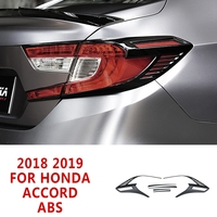 pcmos 6Pcs ABS Glossy Black Rear Tail Light Lamp Cover Trim For Honda Accord 2018 2019 Exterior Parts Chromium Styling Stickers