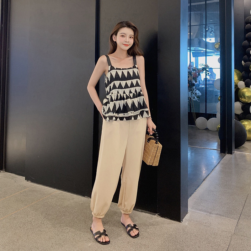 Customizable 2019 Korean-style Summer Fashion Leisure Suit Top Shirt With Narrow Straps + Beam Foot Mouth Casual Pants Two-Piece
