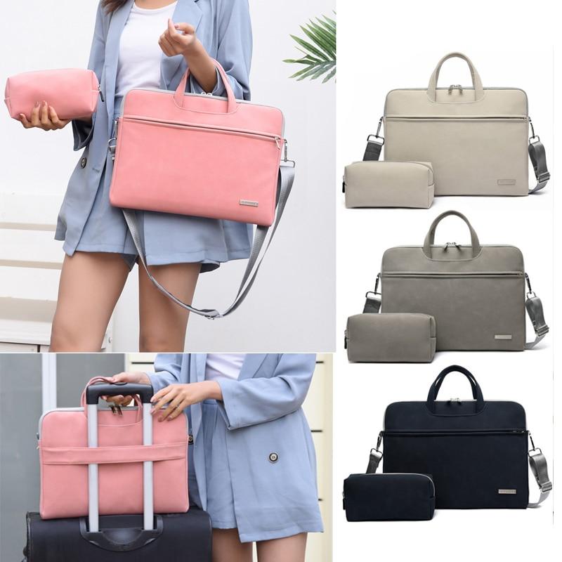 Matte Shoulder Handbag For Macbook Air Pro 13 15 16 Inch Bag Sleeve Laptop Case For Xiaomi Lenovo 14 15.6 Women Business Bags