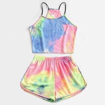 Muyogrt Women Sets Tie-dye Print 2 Pcs Sweatsuit Cami Vest Top + Shorts Summer Pullover Suits Women Outfit Two Piece Tracksuits tie front cross wrap cami top