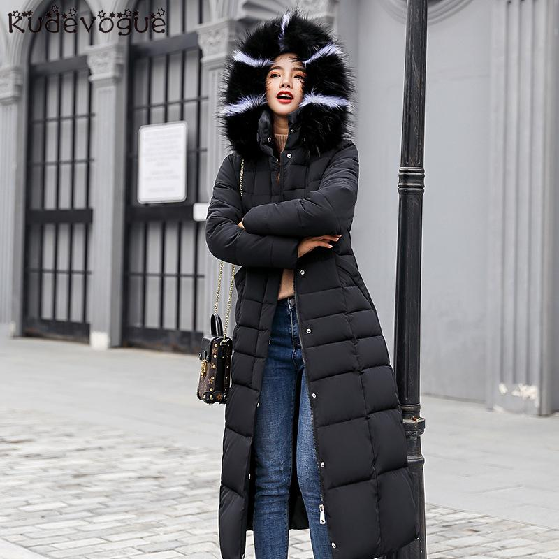Padded Jacket 2019 Long Fashion Winter Jacket Women Thick Down Parkas Female Slim Fur Collar Winter Warm Coat For Women