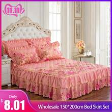 Wholesale 150*200cm bed skirt set thicken bed cover sheets bed quilted bedspread pastoral flower bed sheet 5 Color Freeship #4O(China)