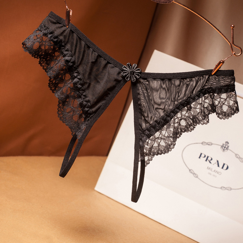 Women's Sexy Lingerie Hot Erotic Open Crotch Panties Porn Lace Transparent Underwear Crotchless Sex Wear Cheeky Briefs For Woman