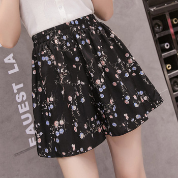 women shorts soft loose flower elastic waist womens shorts