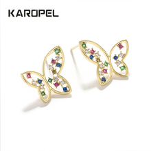 karopel butterfly earrings for women  studs rhinestone decoration wedding