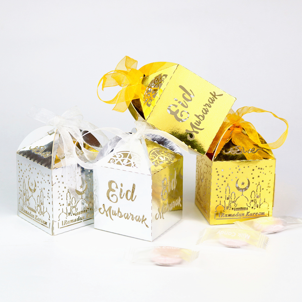 50pcs Gold Eid Mubarak Candy Box Favor Box DIY Paper Gift Boxes Happy Islamic Muslim Al-Fitr Eid Ramadan Decor Party Supplies