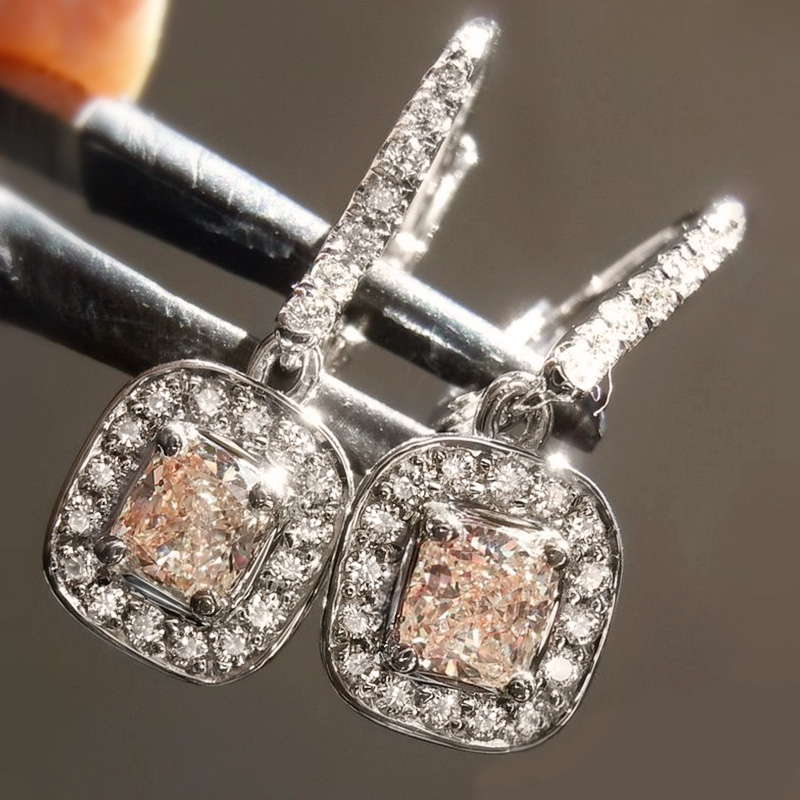 Huitan Gorgeous Princess Square CZ Drop Earrings for Women Weeding Engage Evening Party Female Delicate Earring Fashion Jewelry
