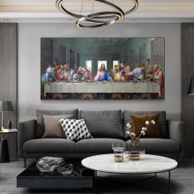 Leonardo Da Vinci's The Last Supper Canvas Paintings Famous Art Prints and Posters Wall Art Pictures for Living Room Home Decor