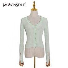 Women Sweater Cardigans Patchwork Long-Sleeve Vintage V-Neck Ruffles Striped Fashion