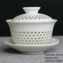 Китайская чайная чашка сотовая керамический гайвань кунг-фу чайные чашки и блюдце супница фарфоровый чайный набор Крышка Чаша G