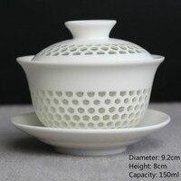 Китайская чаша для чая, сотовая керамическая чаша Gaiwan KungFu, чайные чашки и блюдце, фарфоровый чайный набор, чаша для чая G