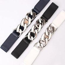 Exaggerated Metal Thick Chain Belt Elastic Ladies Dress Belt Fashion Coat Sweater Women Belt Fashion Waist Punk Gold Color Chain