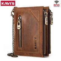 KAVIS Hot Sale Rfid 100% Genuine Leather Wallet Men Portomonee PORTFOLIO Card Holder Coin Purse Small Male Money Bag Mini Chain
