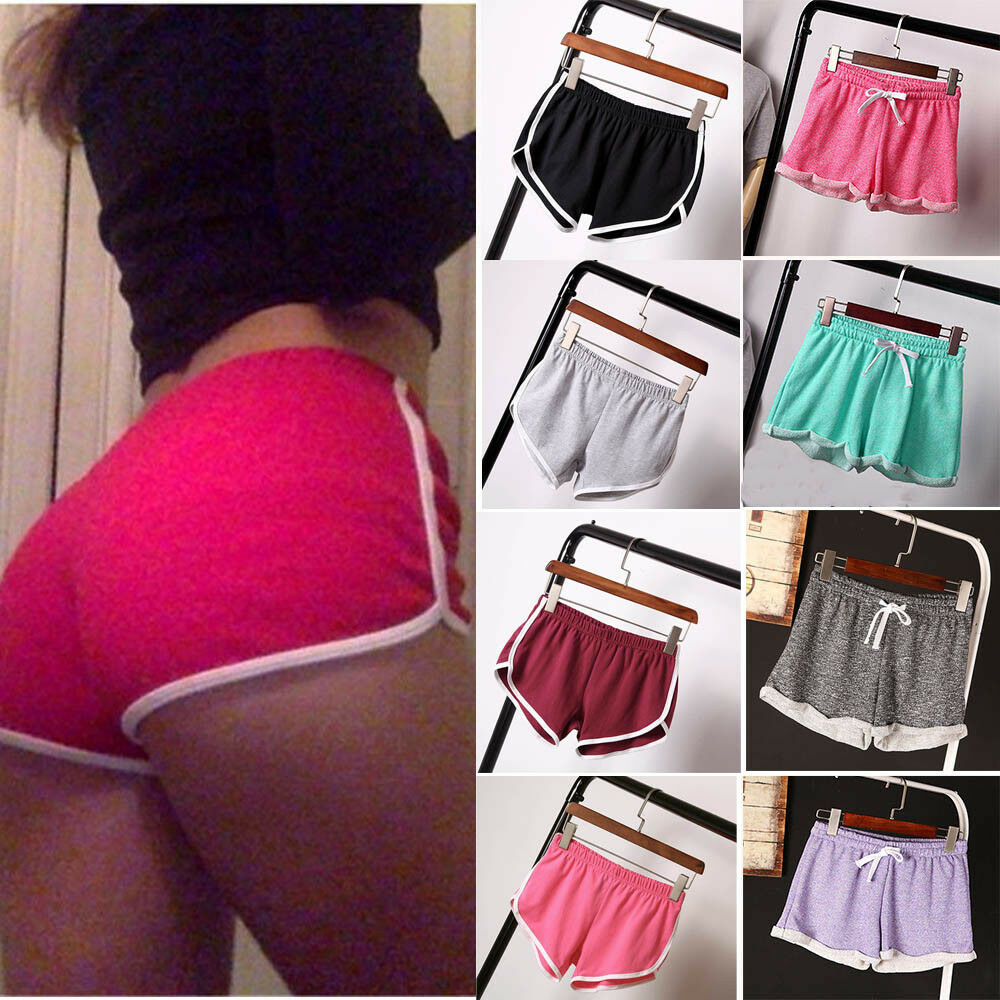 Women Casual Running Shorts Gym Jogging Waistband Summer Casual Solid Color Hot Trousers