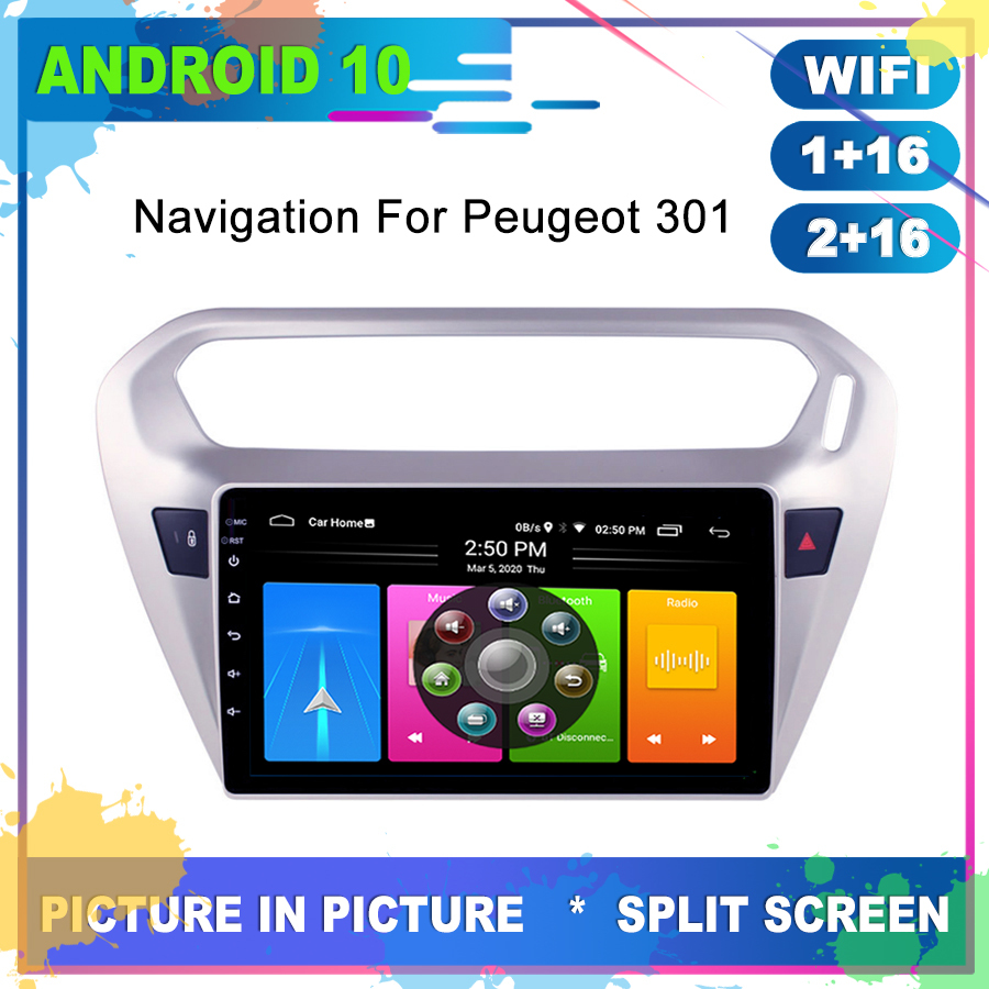 Car Android 10 GPS For <font><b>Peugeot</b></font> <font><b>301</b></font> Citroen Elysee Radio Navigation Multimedia Cassette Recorder Player Stereo Carplay Head Unit image