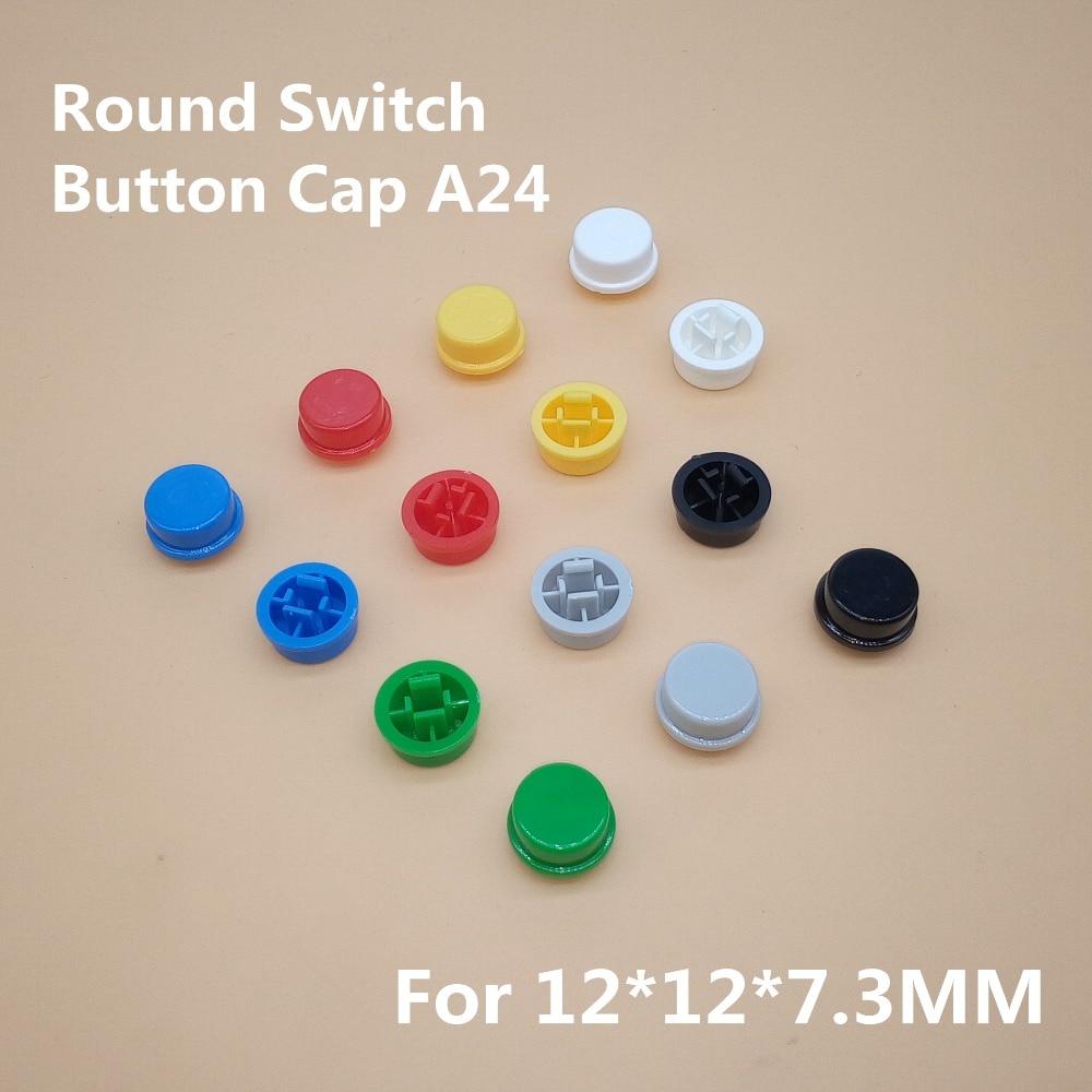 20Pcs A24 Round Button Tactile Push Button Switch Cap For 12*12*7.3 Switch (7 Colors)