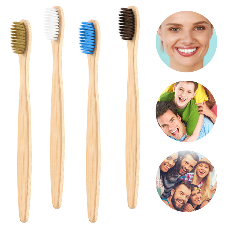 4 Colors Natural Bamboo Toothbrush Adult Toothbrush Flat Bamboo Handle Soft Bristle Toothbrush  Bamboo Products