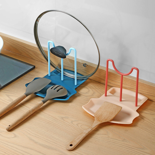 Pot Cover Rack Household Kitchen Table Top Shovel Spoon Holder Non Punching Pot Lid Cooking Dish Storage Racks Kitchen Accessory 2