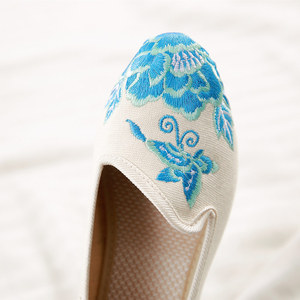 Image 5 - Veowalk מחודדת הבוהן נשים נעלי דירות פרחוני רקמת נוח ישן פקין בעבודת יד בלרינות Sapato Feminino