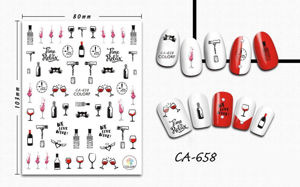 3d-наклейка для ногтей, винные стеклянные часы, украшения для дизайна ногтей, наклейки для маникюра, слайдер, пленка для ногтей, декоративные ...