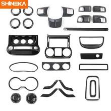 SHINEKA – autocollants décoratifs pour Console centrale de voiture, en Fiber de carbone, pour Jeep Wrangler JK 2011 – 2017