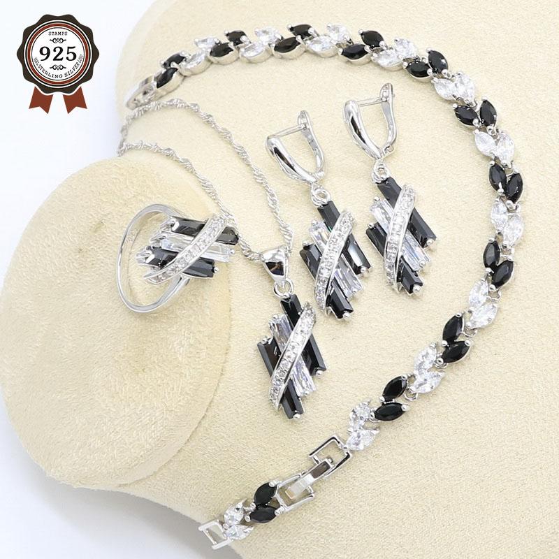 Black White Zircon 925 Silver Bridal Jewelry Set for Women Bracelet Earring Necklace Pendant Ring Gift Box